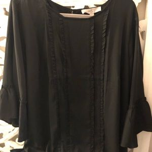 LOFT black chiffon top NWT
